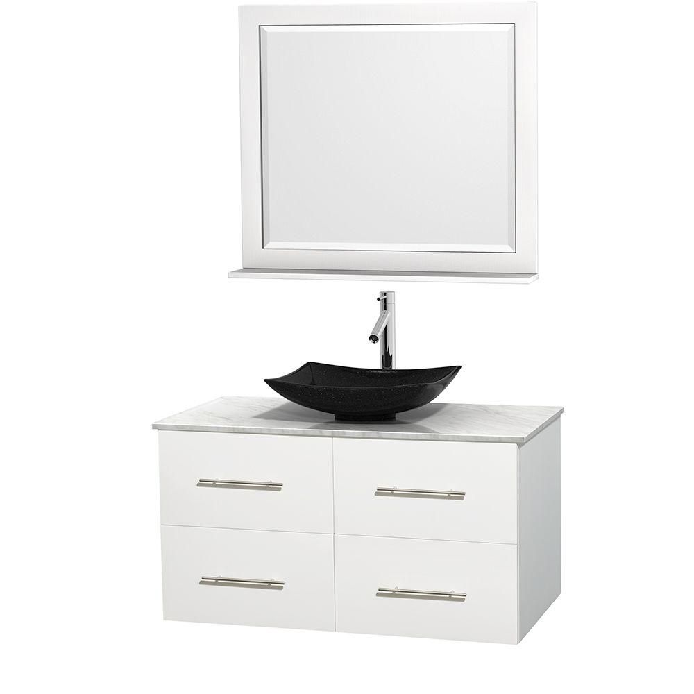 Centra 42-inch W Vanity in White with White Top with Black Basin and Mirror