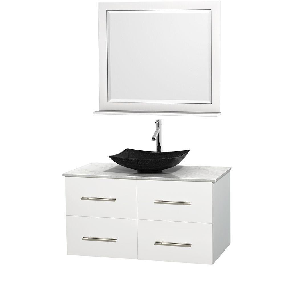Meuble simple Centra 42 po. blanc, comptoir blanc Carrare, lavabo granit noir, miroir 36 po.