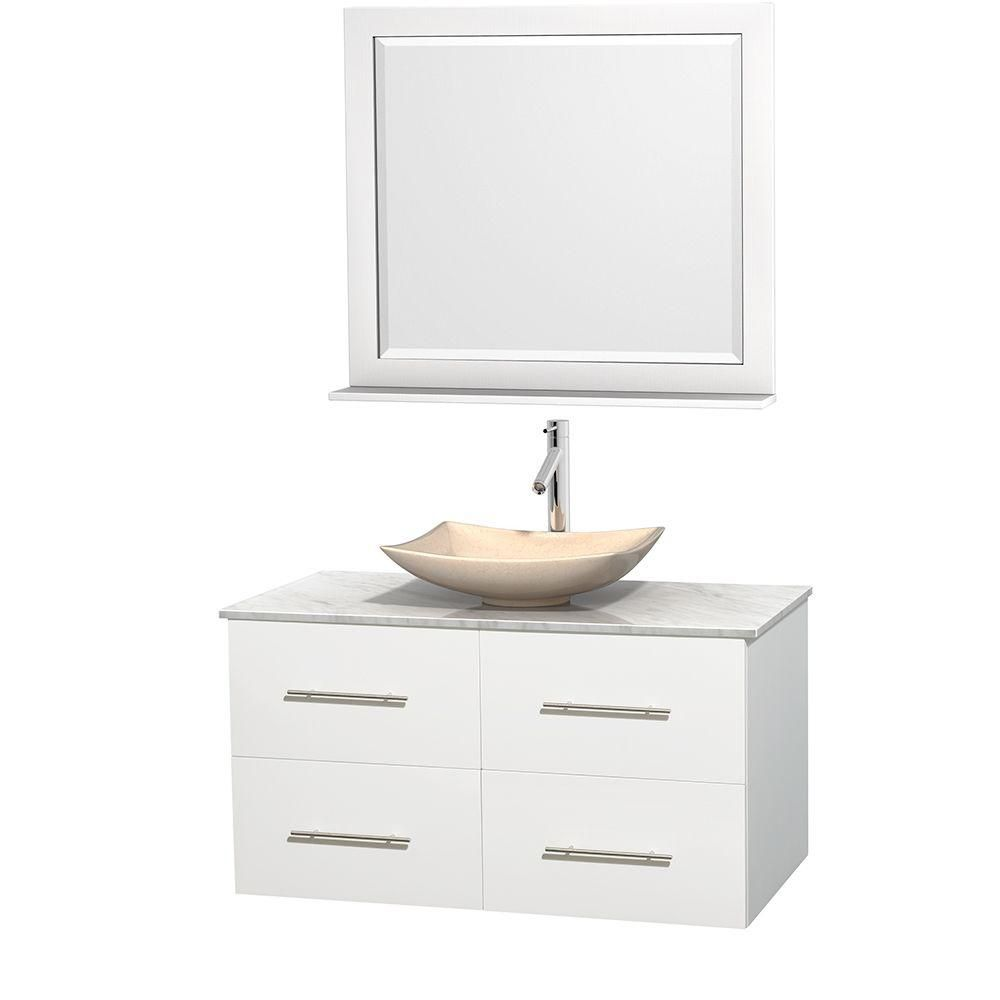 Centra 42-inch W Vanity in White with White Top with Ivory Basin and Mirror