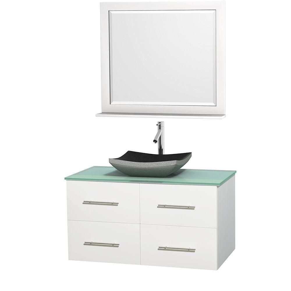 Centra 42-inch W Vanity in White with Glass Top with Black Basin and Mirror