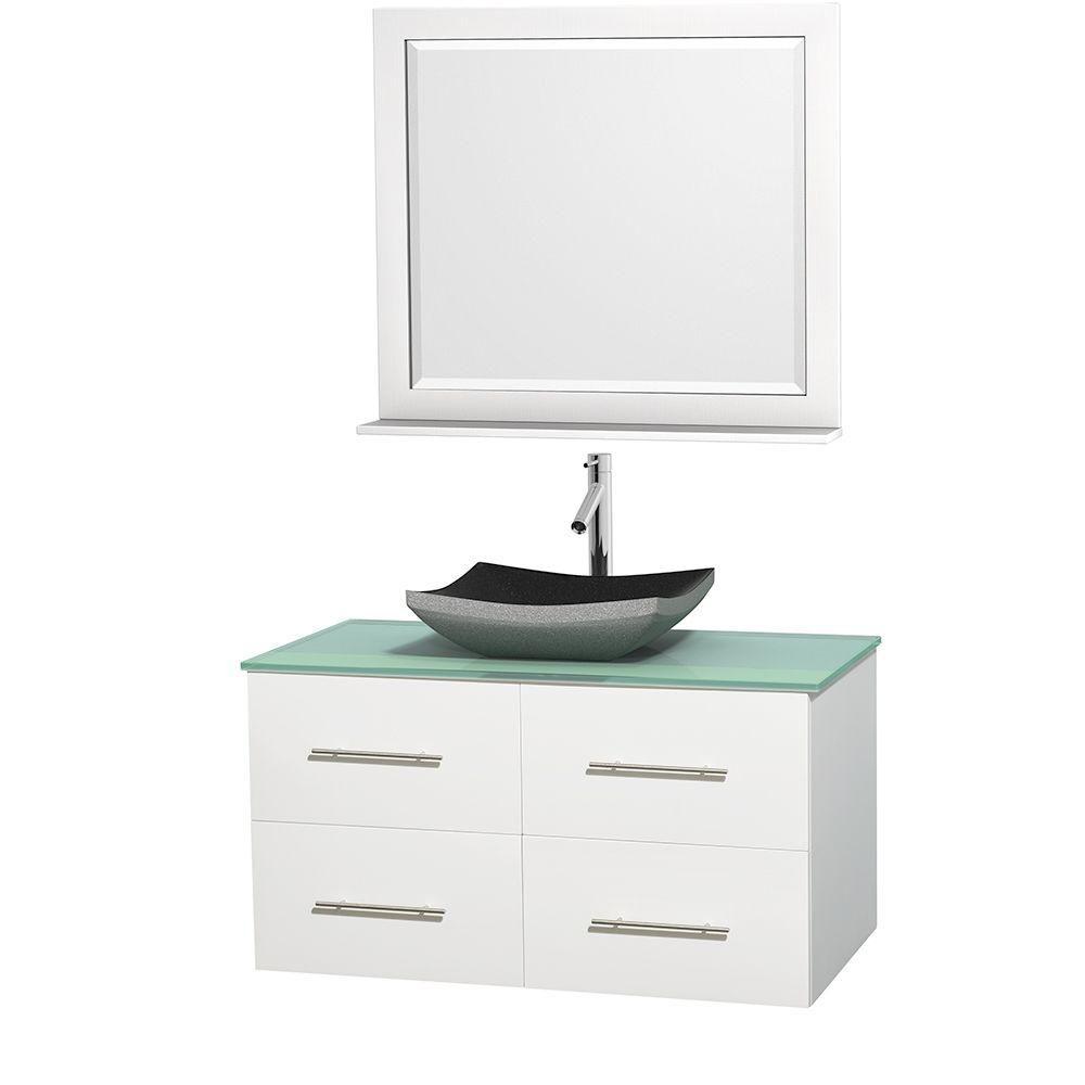 Meuble simple Centra 42 po. blanc, comptoir verre vert, lavabo granit noir, miroir 36 po.