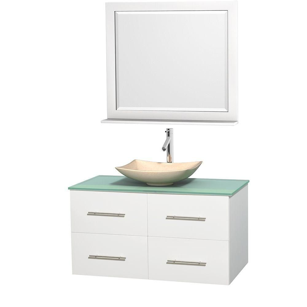 Centra 42-inch W Vanity in White with Glass Top with Ivory Basin and Mirror