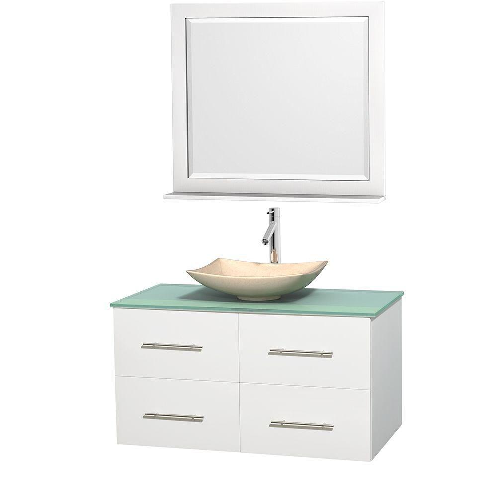 Meuble simple Centra 42 po. blanc, comptoir verre vert, lavabo ivoire, miroir 36 po.