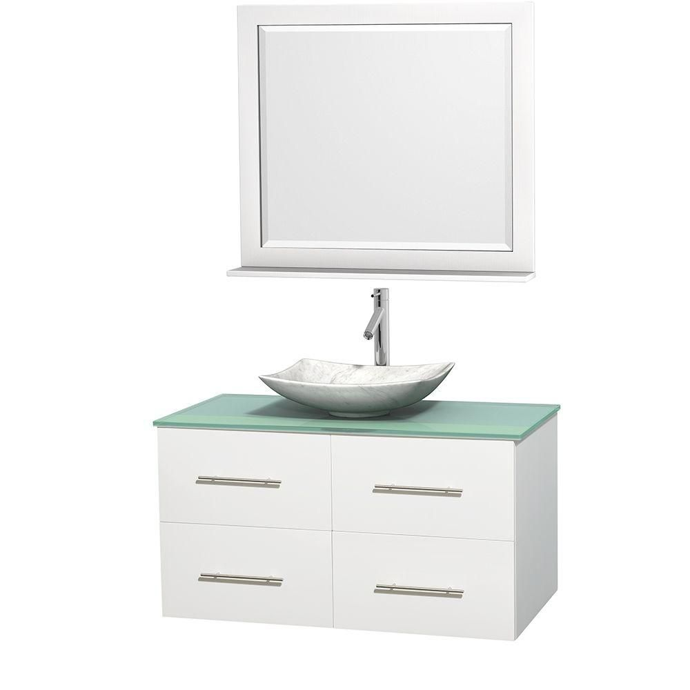 Centra 42-inch W Vanity in White with Glass Top with White Basin and Mirror
