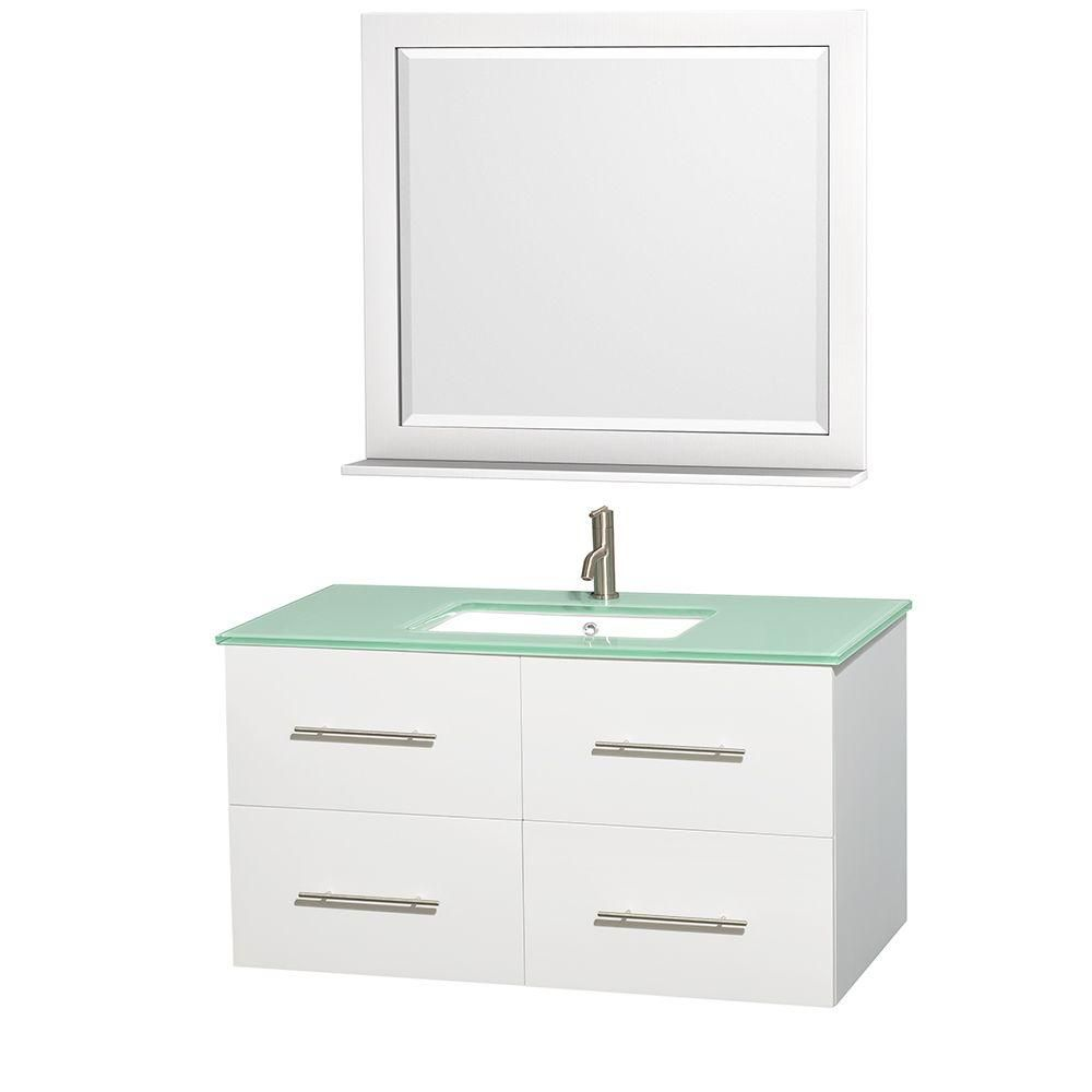 Centra 42-inch W Vanity in White with Glass Top with Square Basin and Mirror
