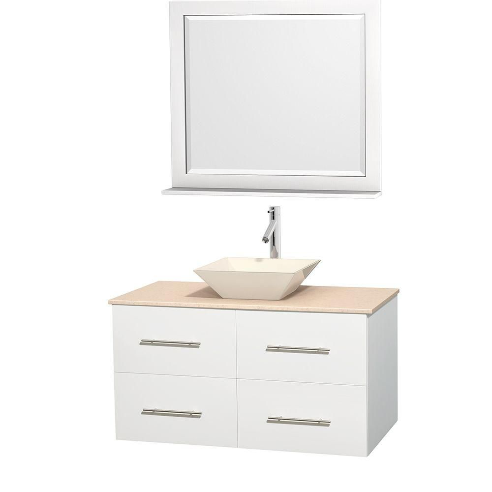 Centra 42-inch W Vanity in White with Marble Top in Ivory with Bone Basin and Mirror