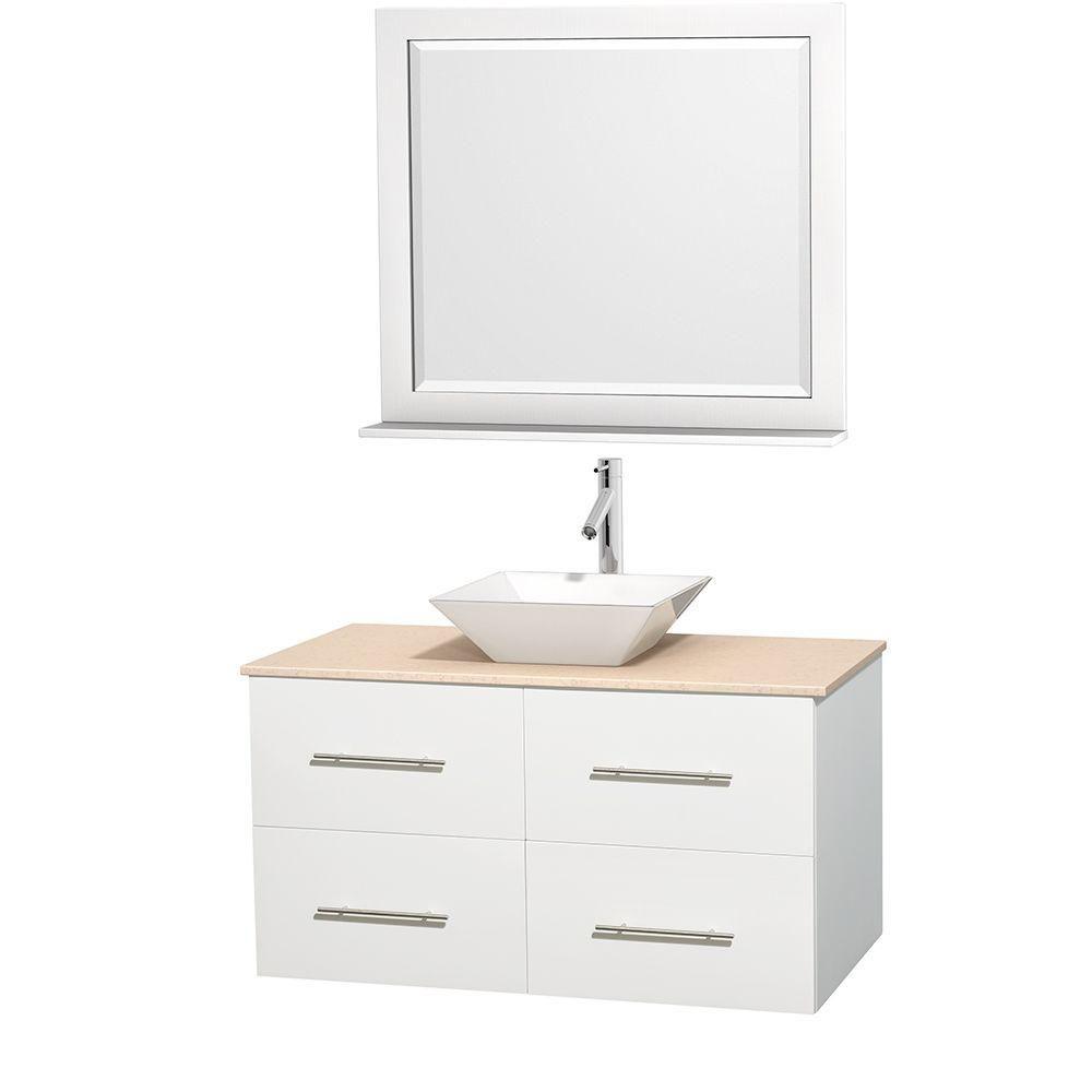 Meuble unique Centra 42 po. blanc, comptoir marbre ivoire, lavabo porcelaine blanche, miroir 36 p...