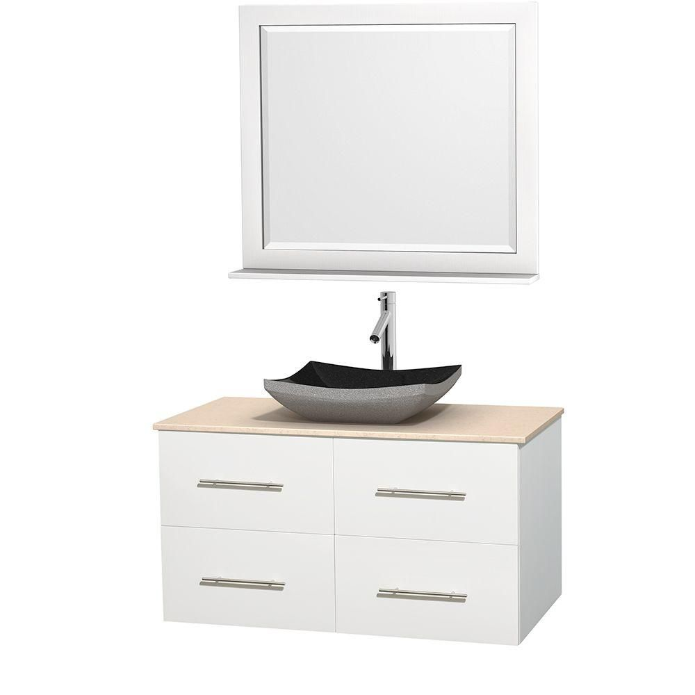 Centra 42-inch W Vanity in White with Marble Top in Ivory with Black Basin and Mirror