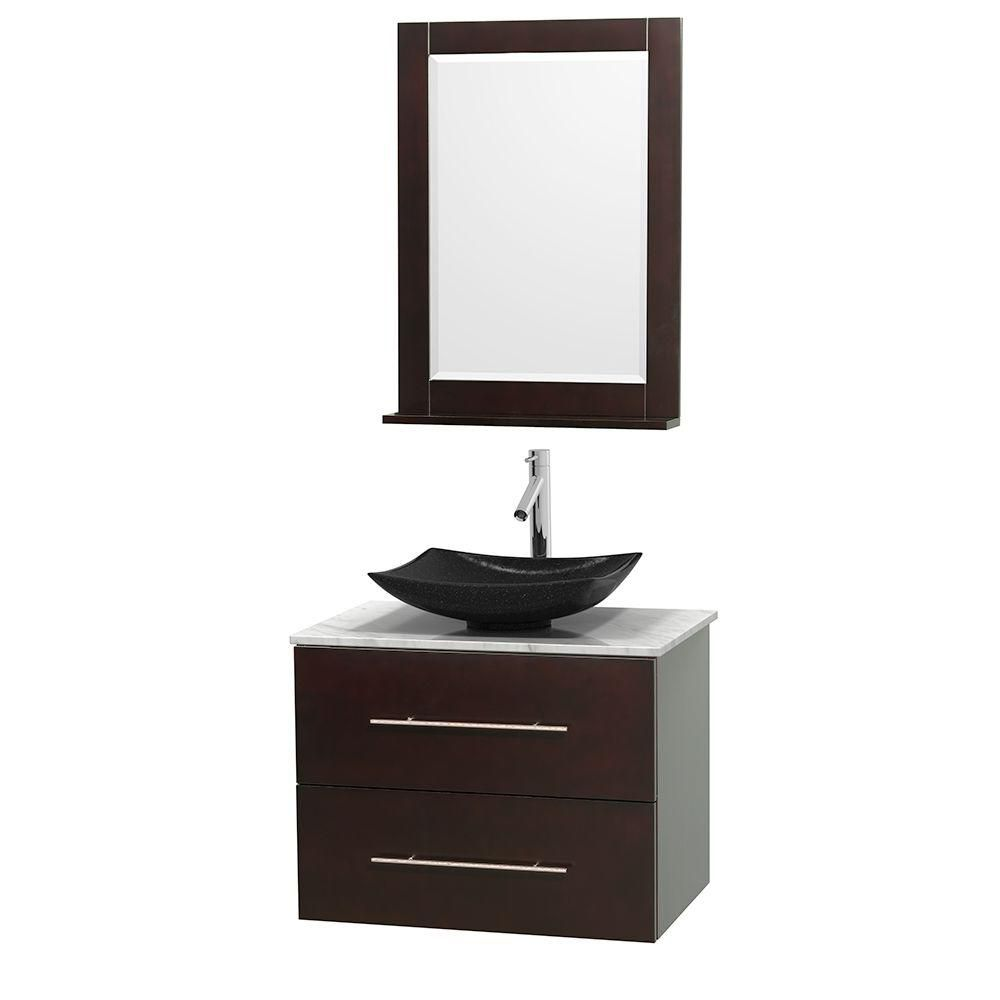 Centra 30-inch W Vanity in Espresso with White Top with Black Basin and Mirror