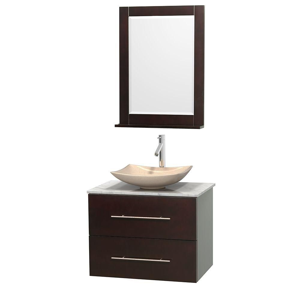 Wyndham Collection Meuble simple Centra 30 po. espresso, comptoir blanc Carrare, lavabo ivoire, miroir 24 po.