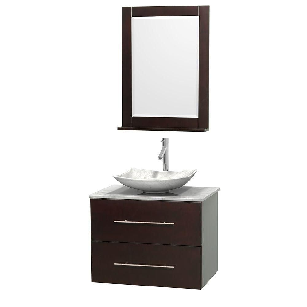 Centra 30-inch W Vanity in Espresso with Top in Carrara White and 24-inch Mirror