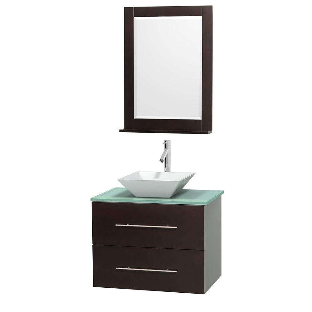 Centra 30-inch W Vanity in Espresso with Glass Top with White Basin and Mirror