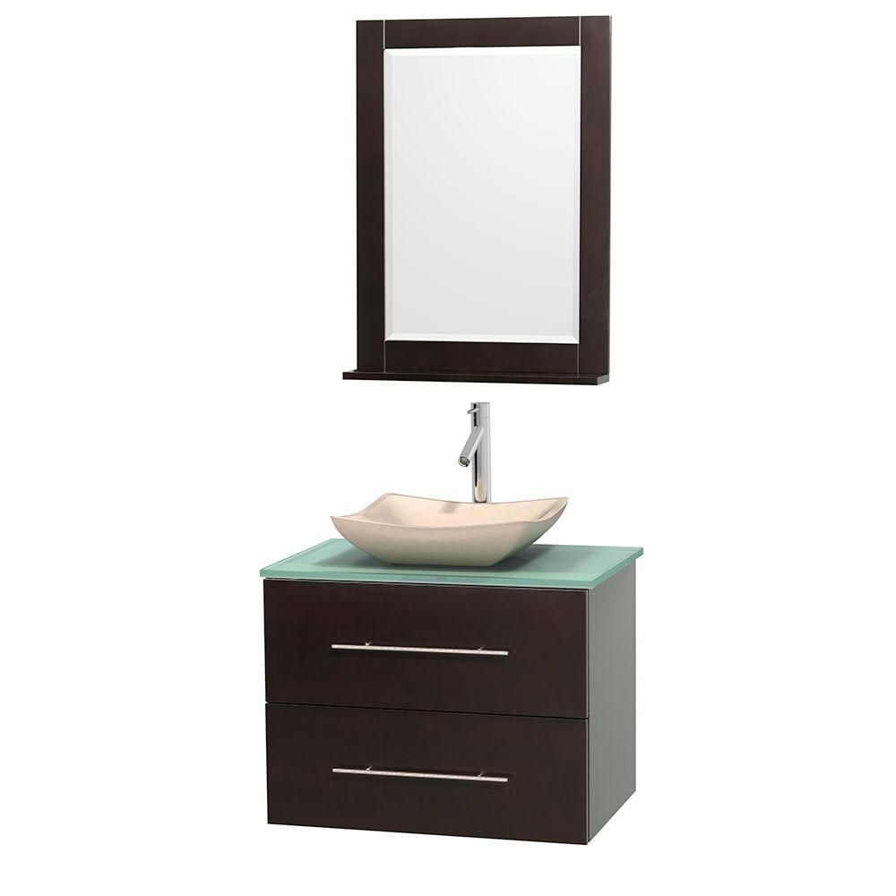 Wyndham collection meuble simple centra 30 po espresso for Meuble lavabo miroir