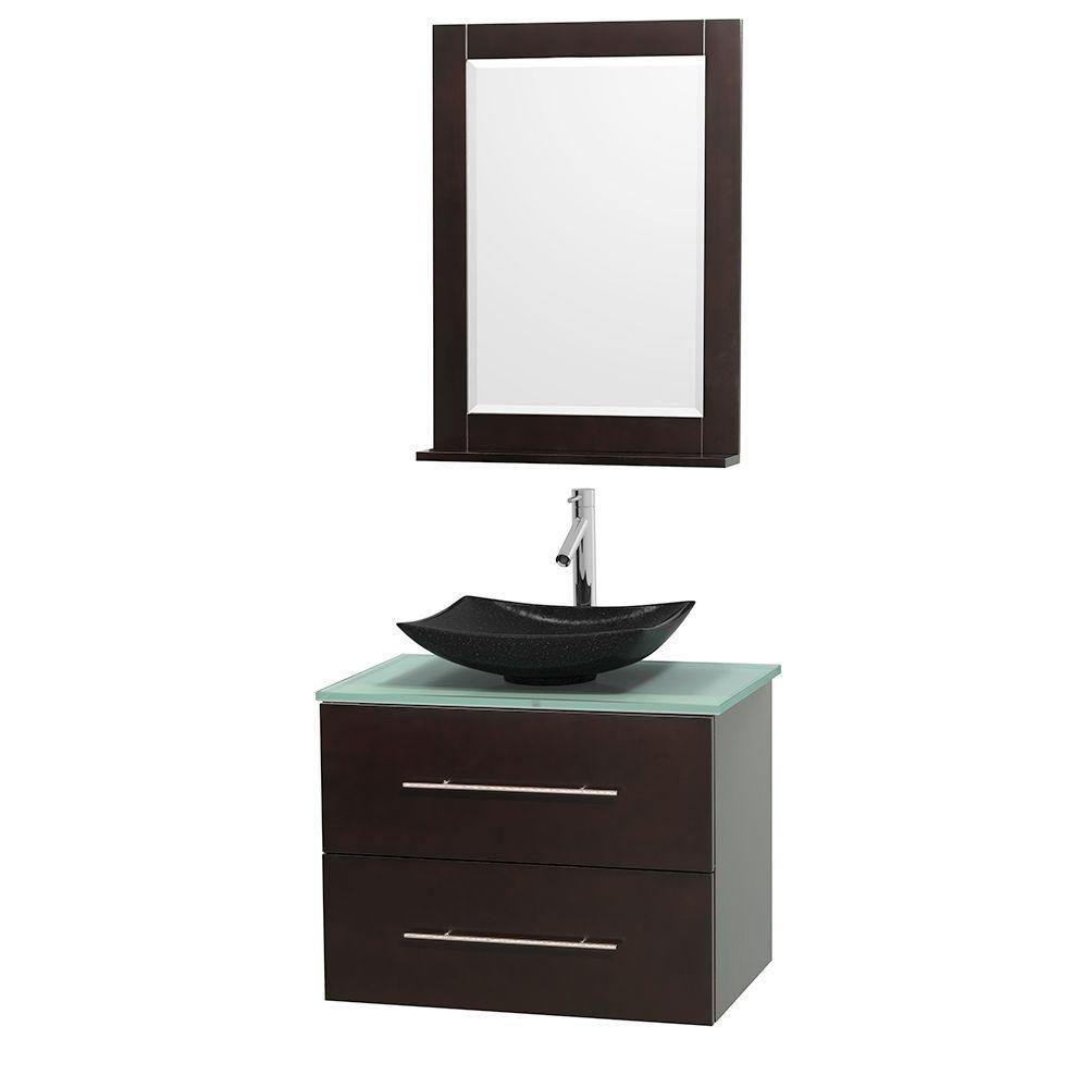 Meuble simple Centra 30 po. espresso, comptoir verre vert, lavabo granit noir, miroir 24 po.