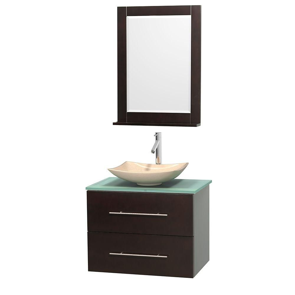 Centra 30-inch W Vanity in Espresso with Glass Top with Ivory Basin and Mirror