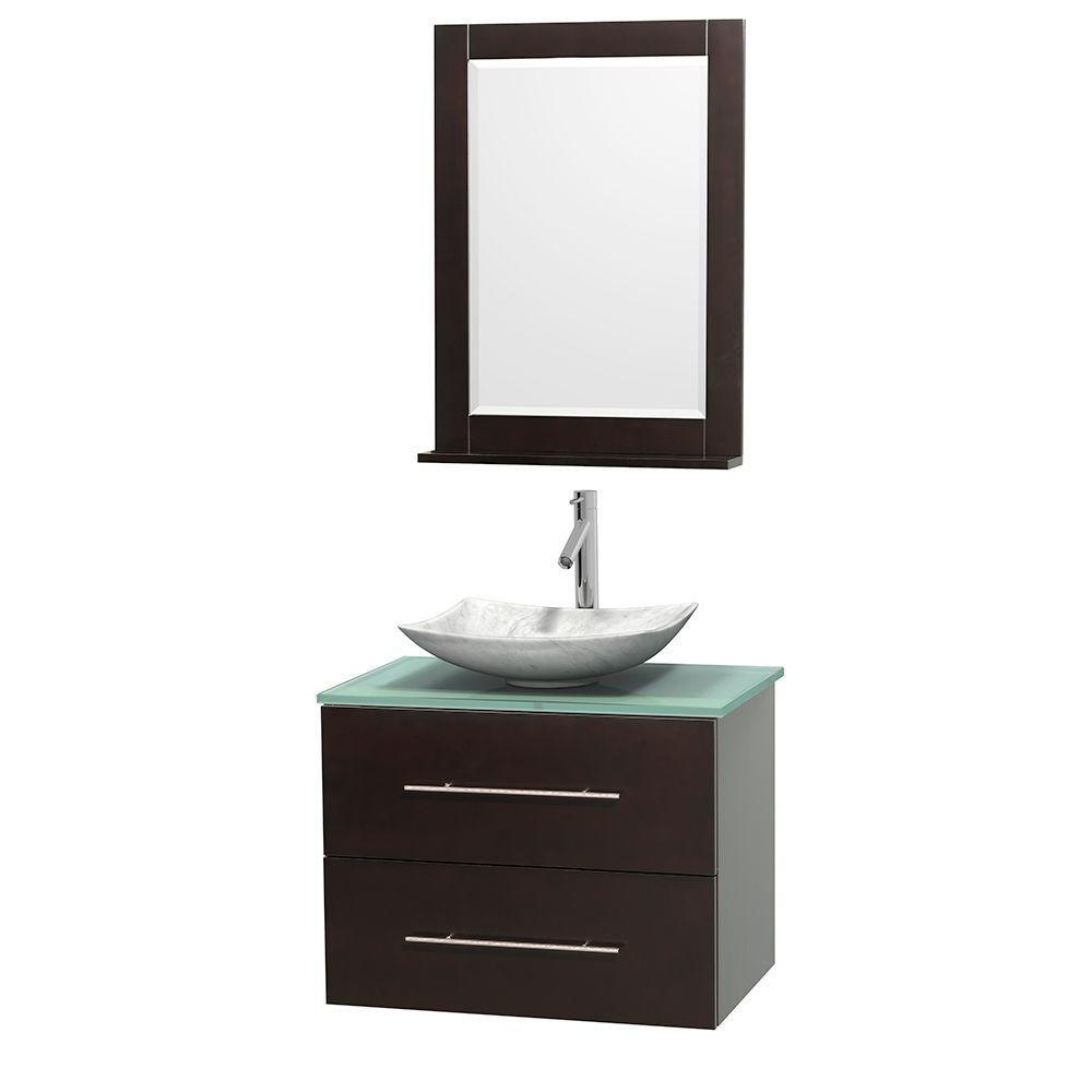 Meuble simple Centra 30 po. espresso, comptoir verre vert, lavabo blanc Carrare, miroir 24 po.
