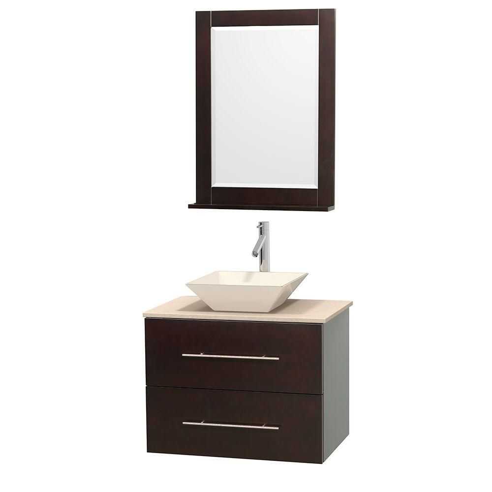 Centra 30-inch W Vanity in Espresso with Marble Top in Ivory with Bone Basin and Mirror