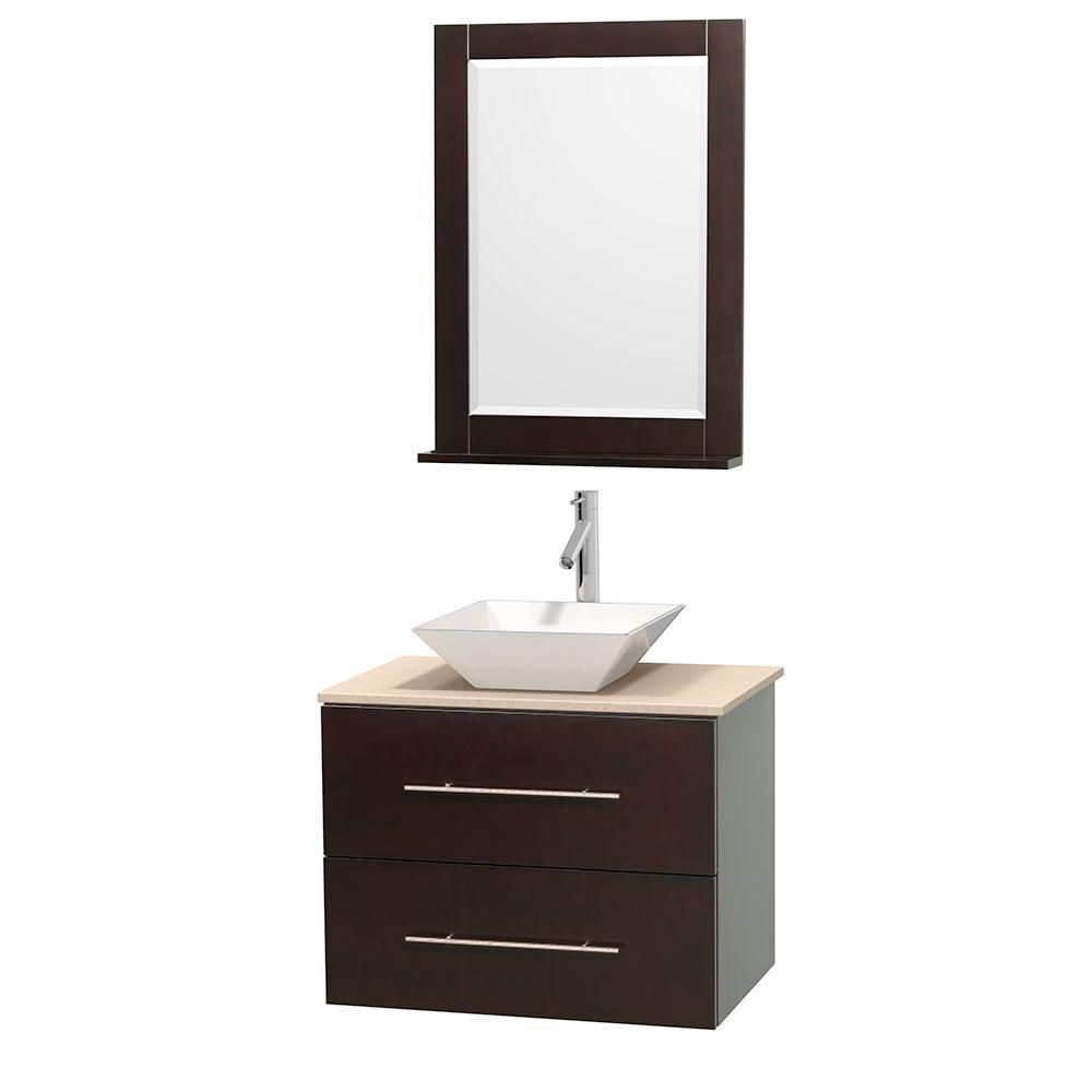 Centra 30-inch W Vanity in Espresso with Marble Top in Ivory with White Basin and Mirror