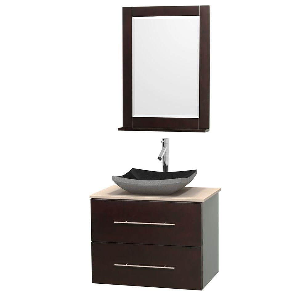 Centra 30-inch W Vanity in Espresso with Marble Top in Ivory with Black Basin and Mirror