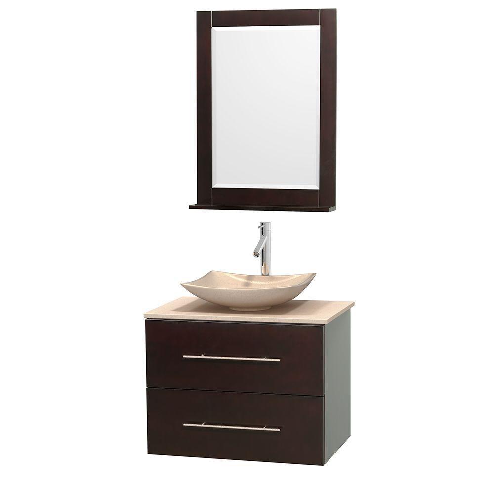Meuble simple Centra 30 po. espresso, comptoir marbre ivoire, lavabo ivoire, miroir 24 po.