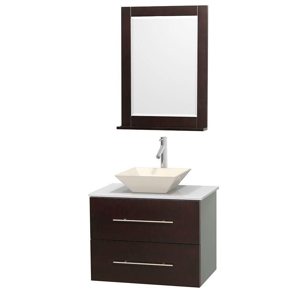 Centra 30-inch W Vanity in Espresso with Solid Top with Bone Basin and Mirror