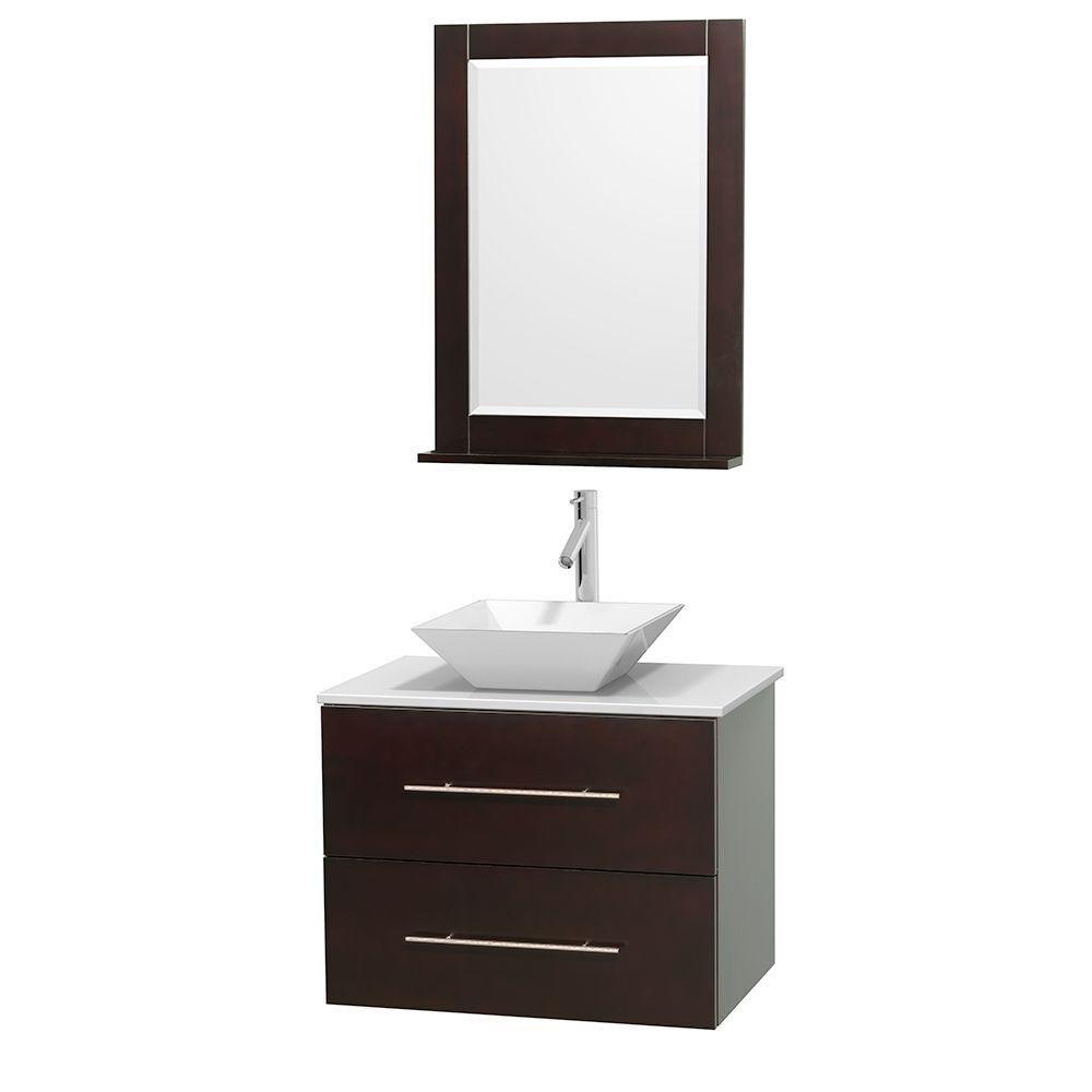 Meuble unique Centra 30 po. espresso, comptoir solide, lavabo porcelaine blanche, miroir 24 po.