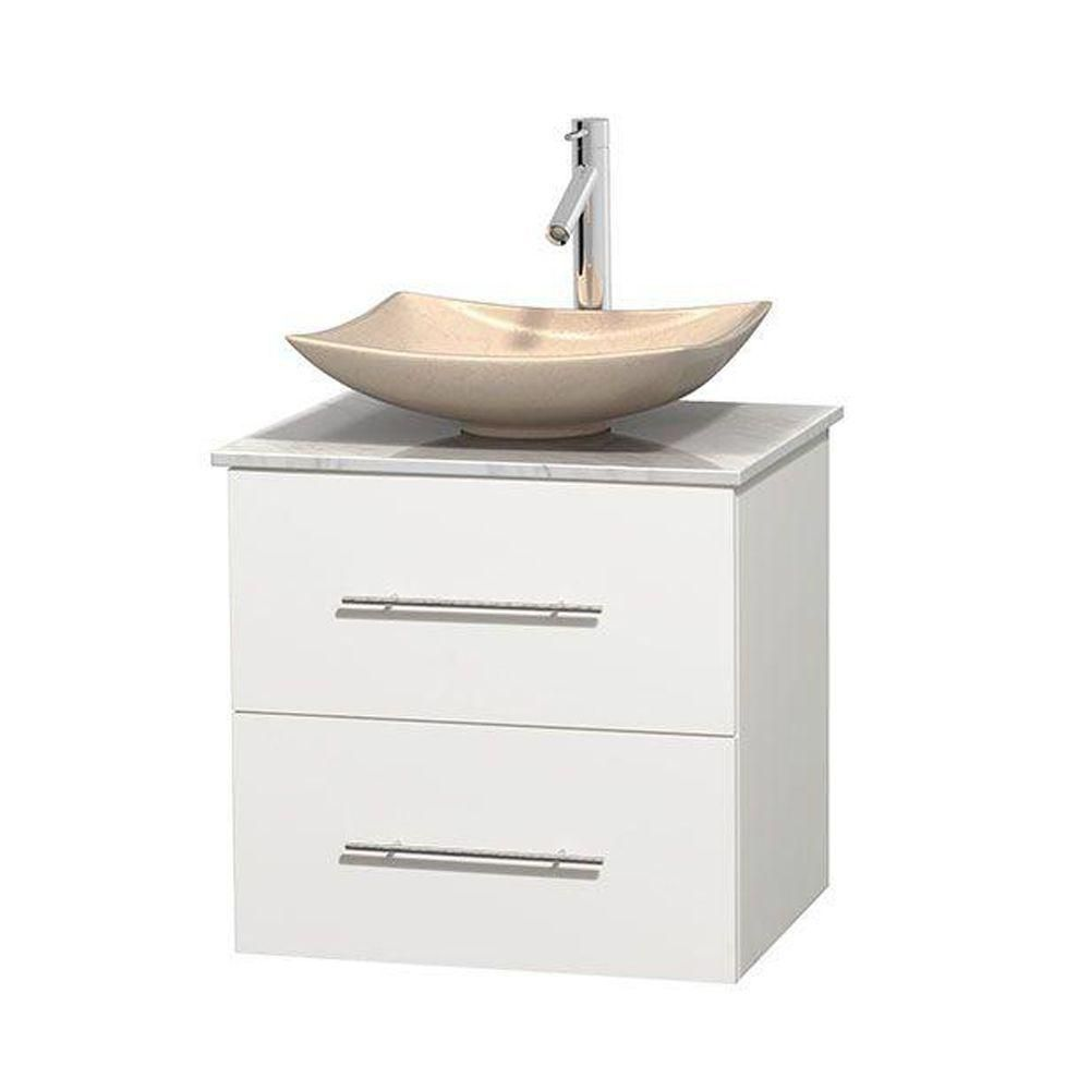 Centra 24-inch W Vanity in White with White Top with Ivory Basin