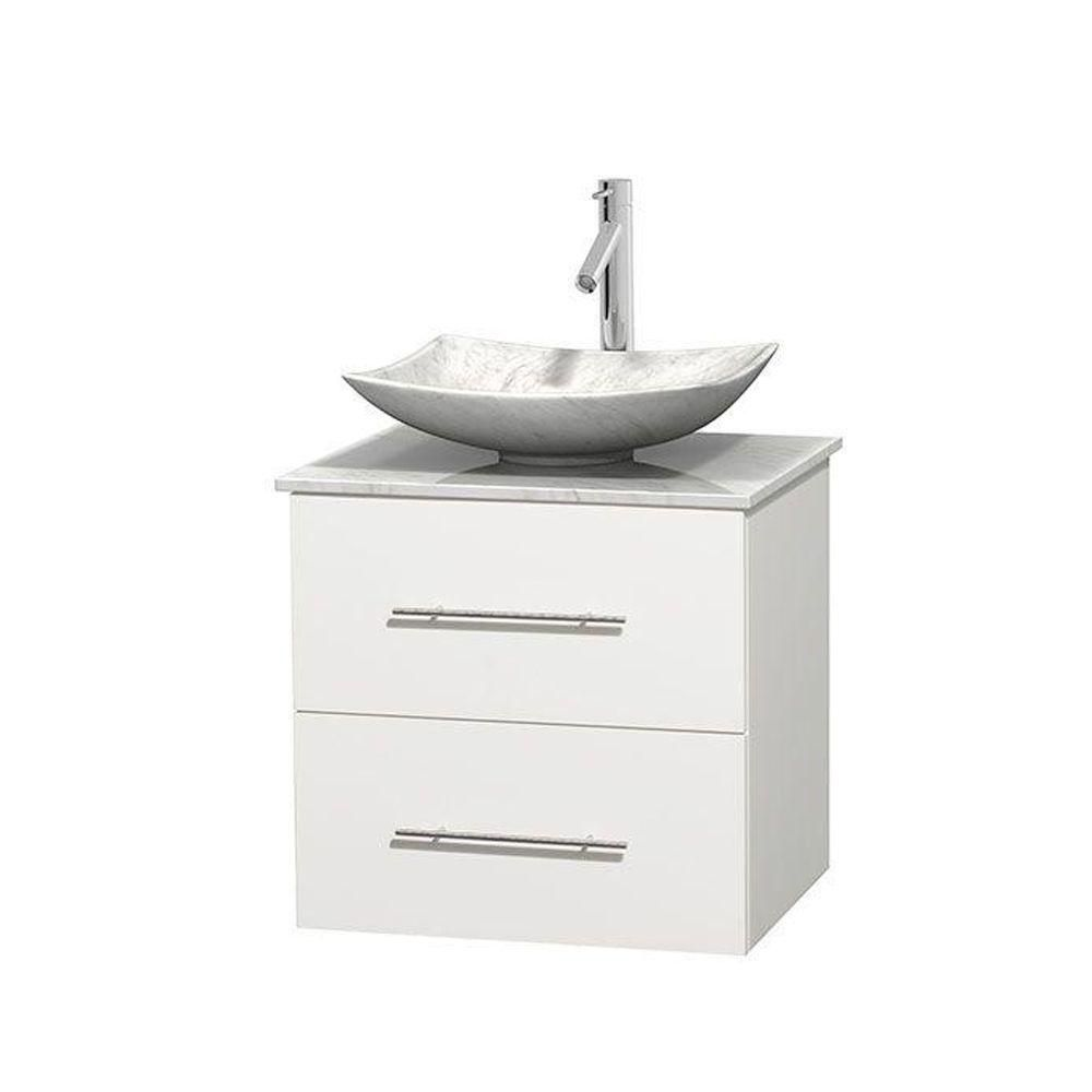 Centra 24-inch W 1-Drawer 1-Door Wall Mounted Vanity in White With Marble Top in White