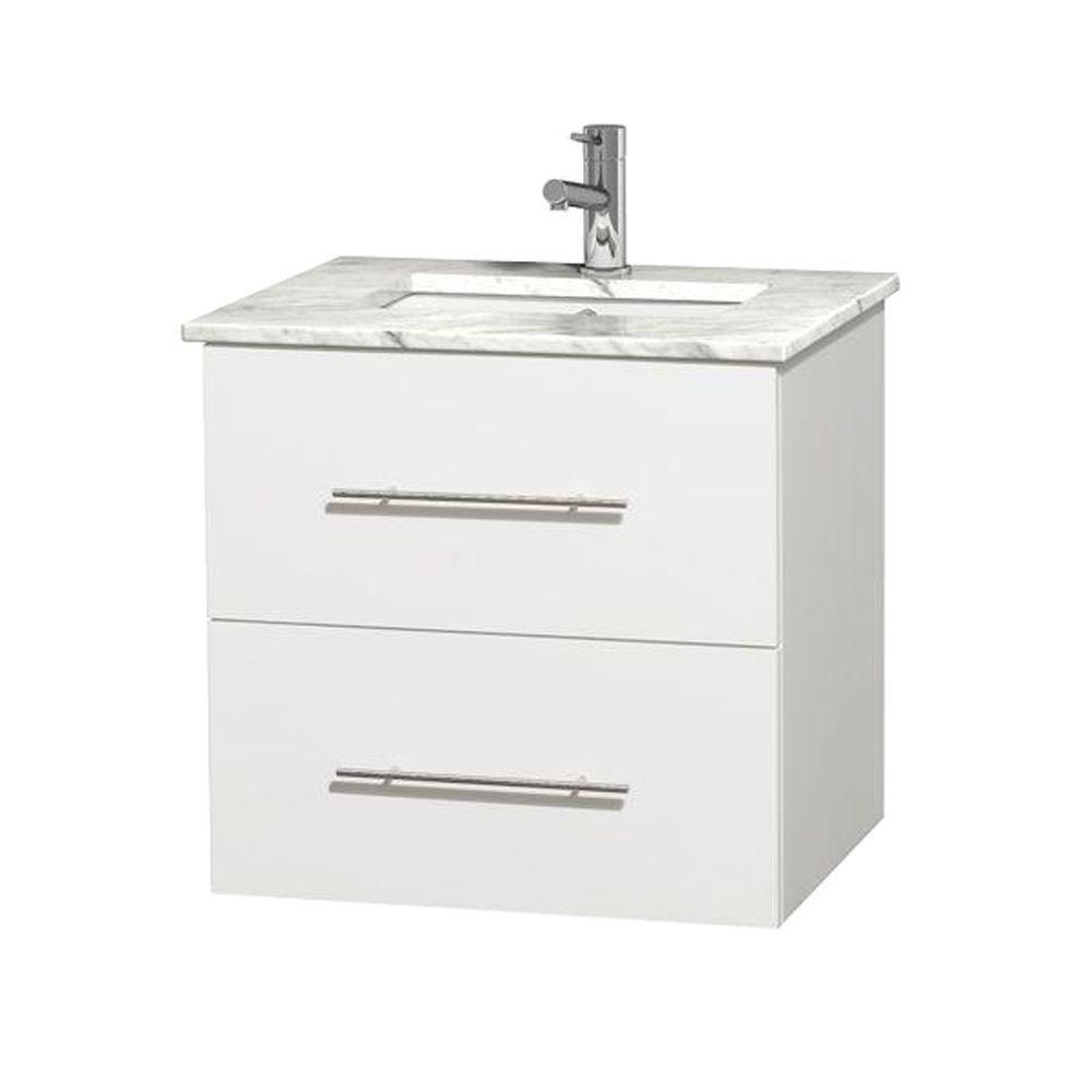 Meuble unique Centra 24 po. blanc, comptoir blanc Carrare, lavabo carré sans miroir