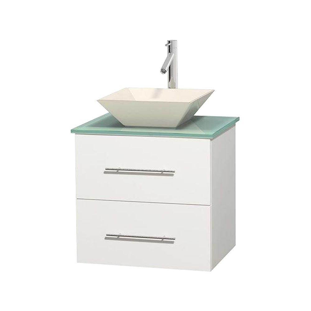 Centra 24-inch W Vanity in White with Glass Top with Bone Basin