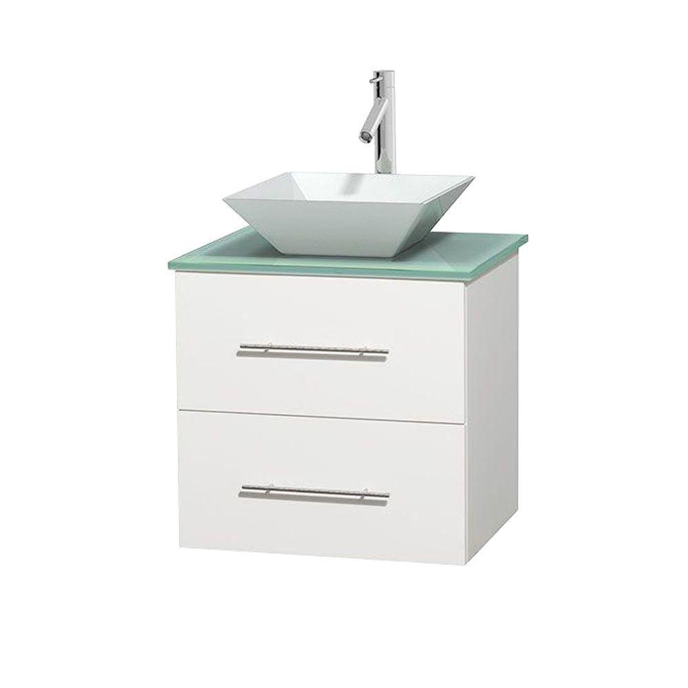 Meuble unique Centra 24 po. blanc, comptoir verre vert, lavabo porcelaine blanche sans miroir