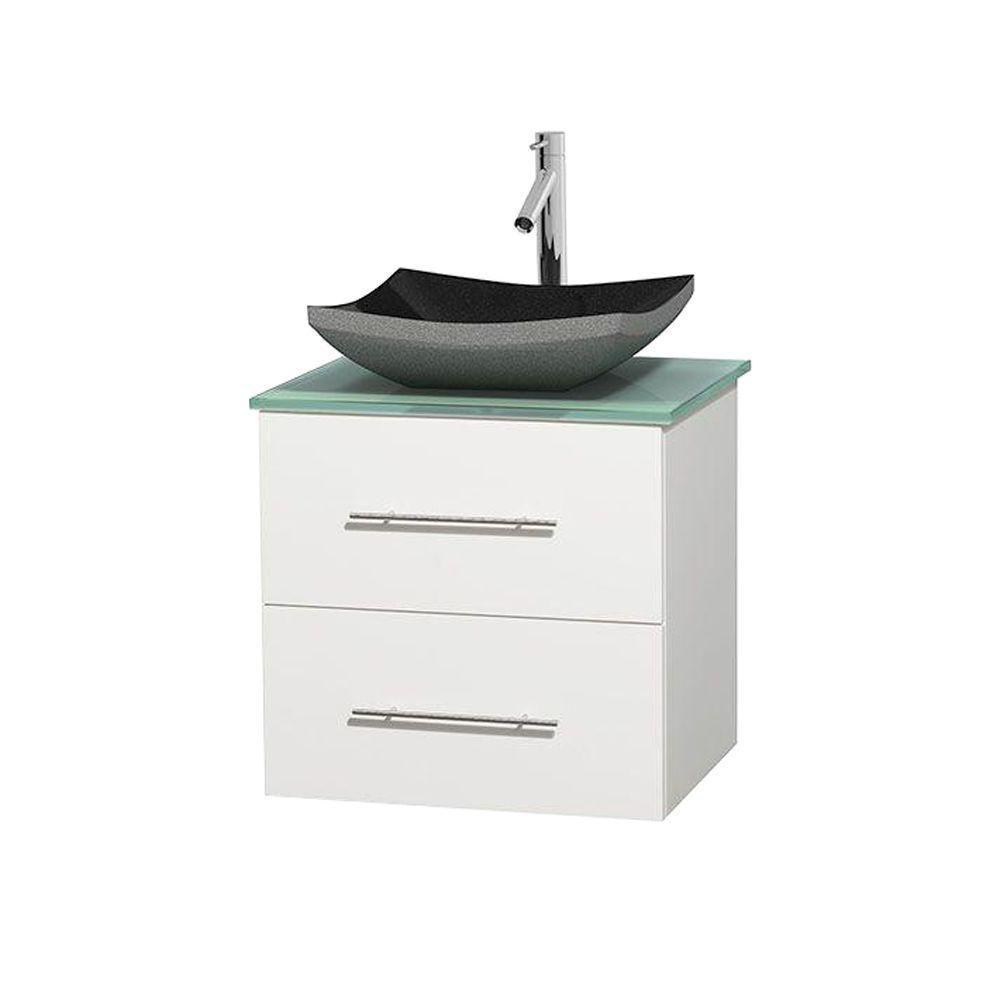 Meuble simple Centra 24 po. blanc, comptoir verre vert, lavabo granit noir, sans miroir