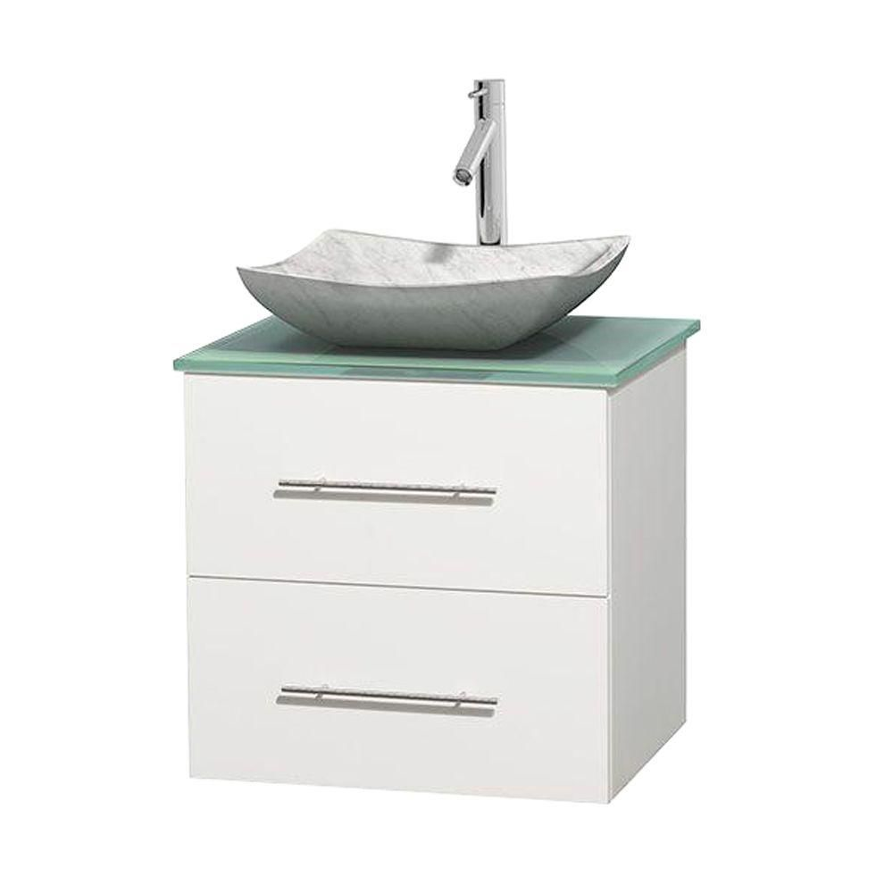 Centra 24-inch W Vanity in White with Glass Top with White Basin