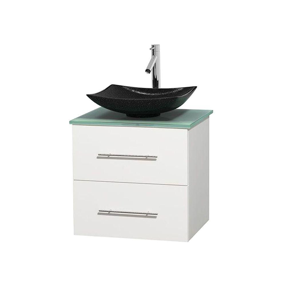 Centra 24-inch W Vanity in White with Glass Top with Black Basin