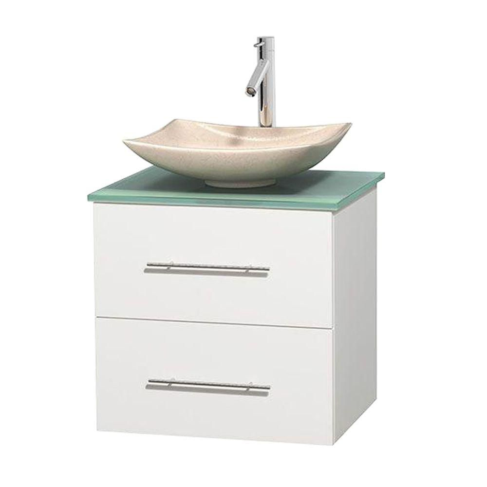 Centra 24-inch W Vanity in White with Glass Top with Ivory Basin