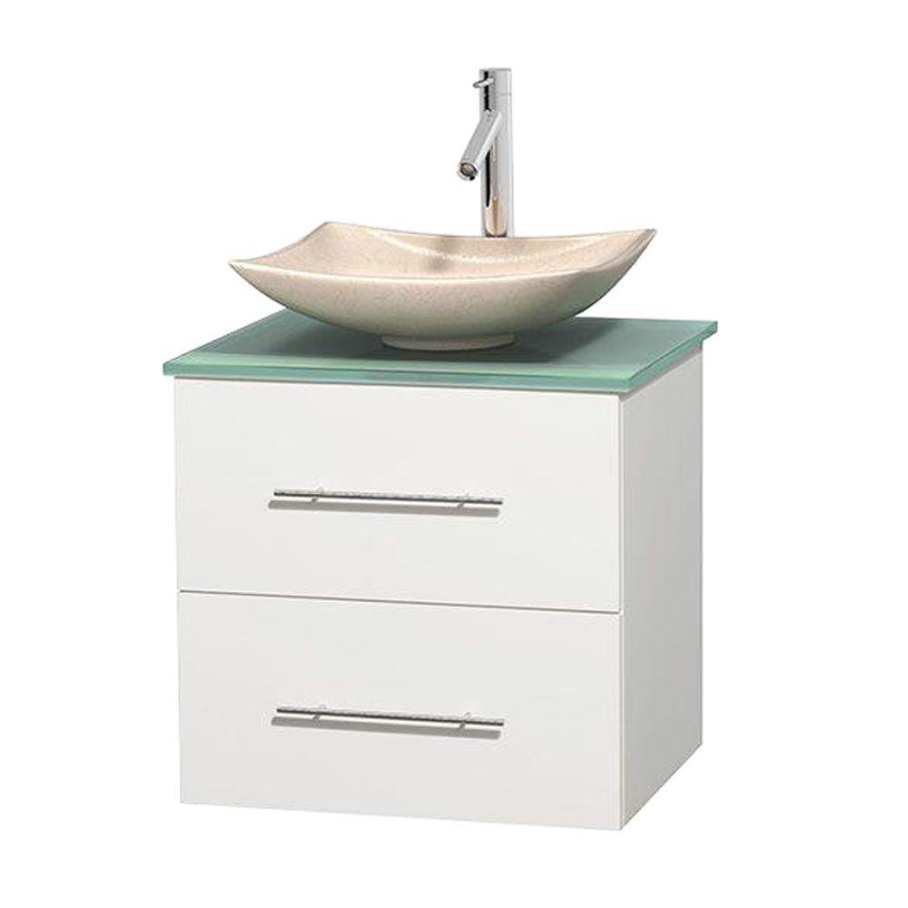 Meuble simple Centra 24 po. blanc, comptoir verre vert, lavabo ivoire, sans miroir