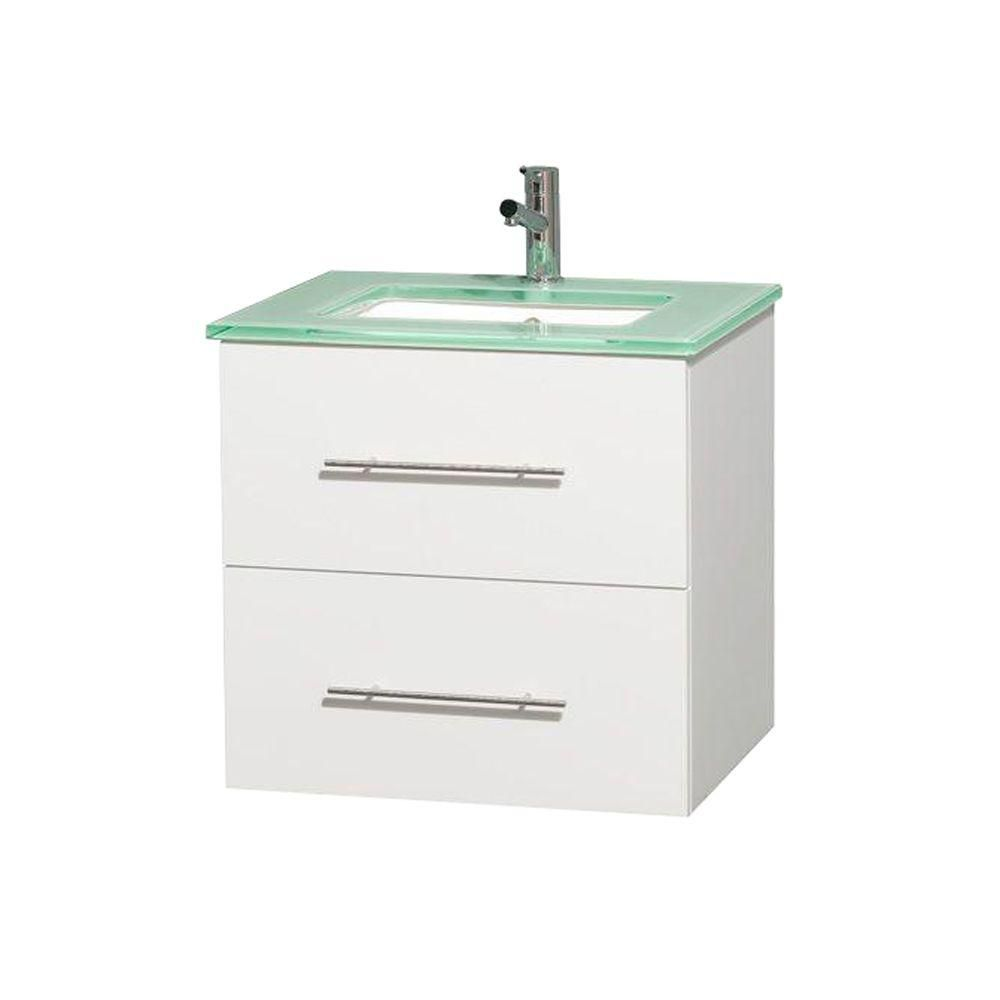 Centra 24-inch W Vanity in White with Glass Top with Square Basin