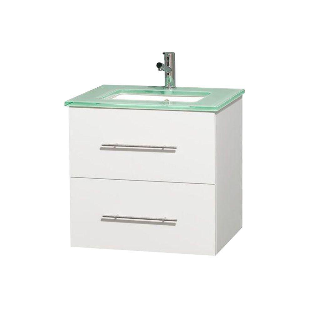 Meuble unique Centra 24 po. blanc, comptoir verre vert, lavabo carré sans miroir