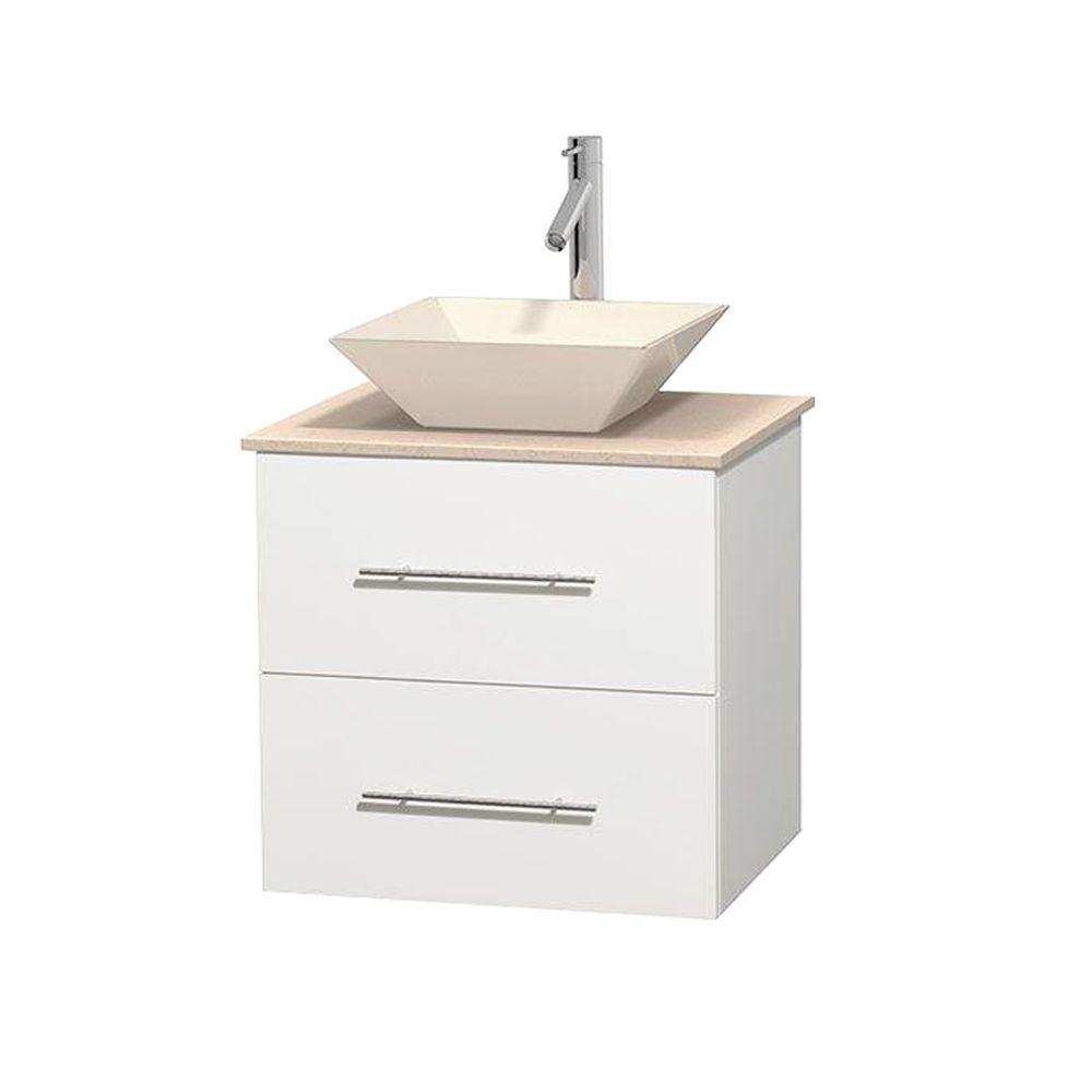 Wyndham collection meuble unique centra 24 po blanc for Meuble unique