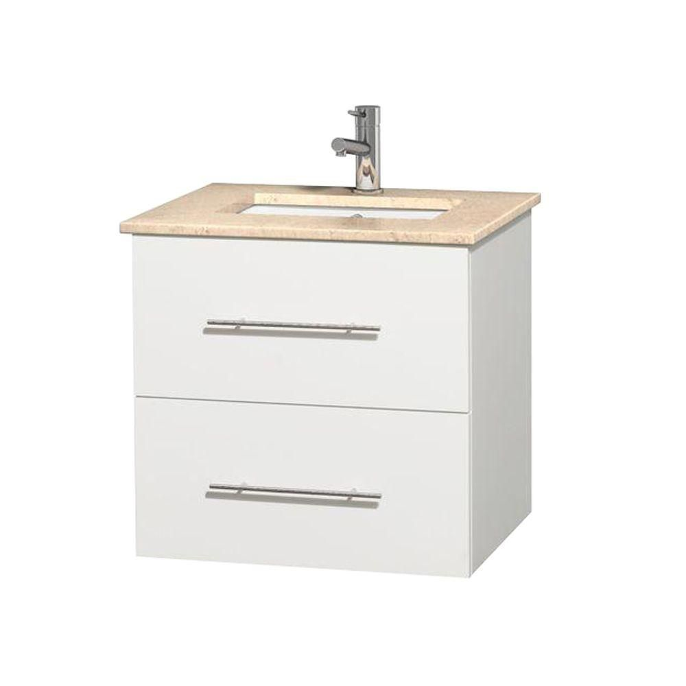 Meuble unique Centra 24 po. blanc, comptoir marbre ivoire, lavabo carré sans miroir