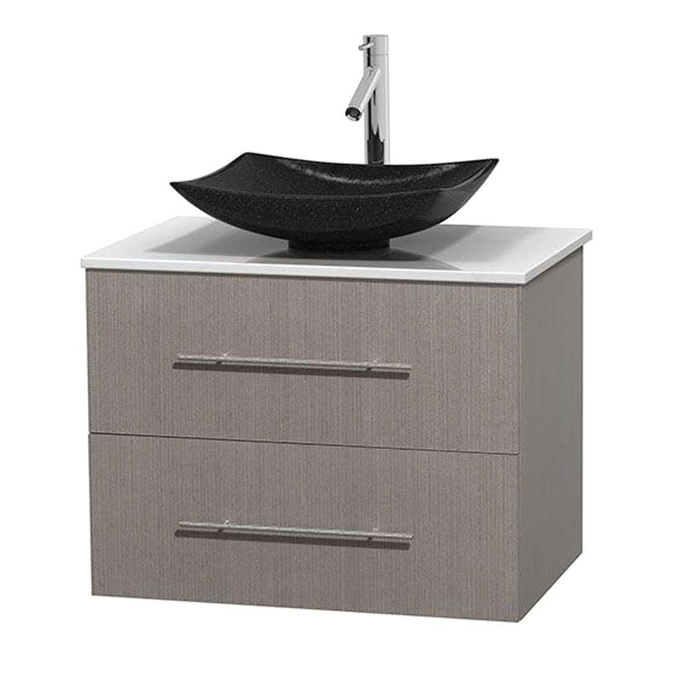 Centra 30-inch W Vanity in Grey Oak with Solid Top with Black Basin