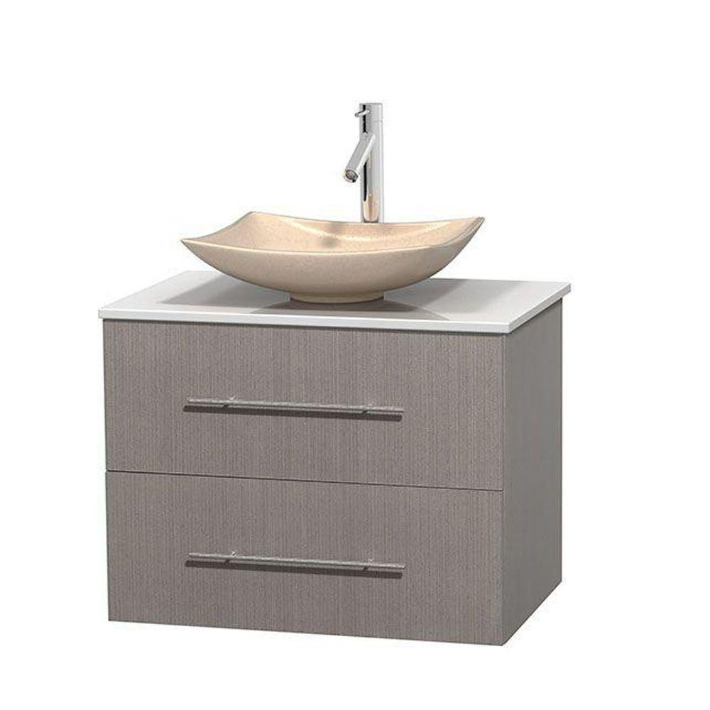 Centra 30-inch W Vanity in Grey Oak with Solid Top with Ivory Basin