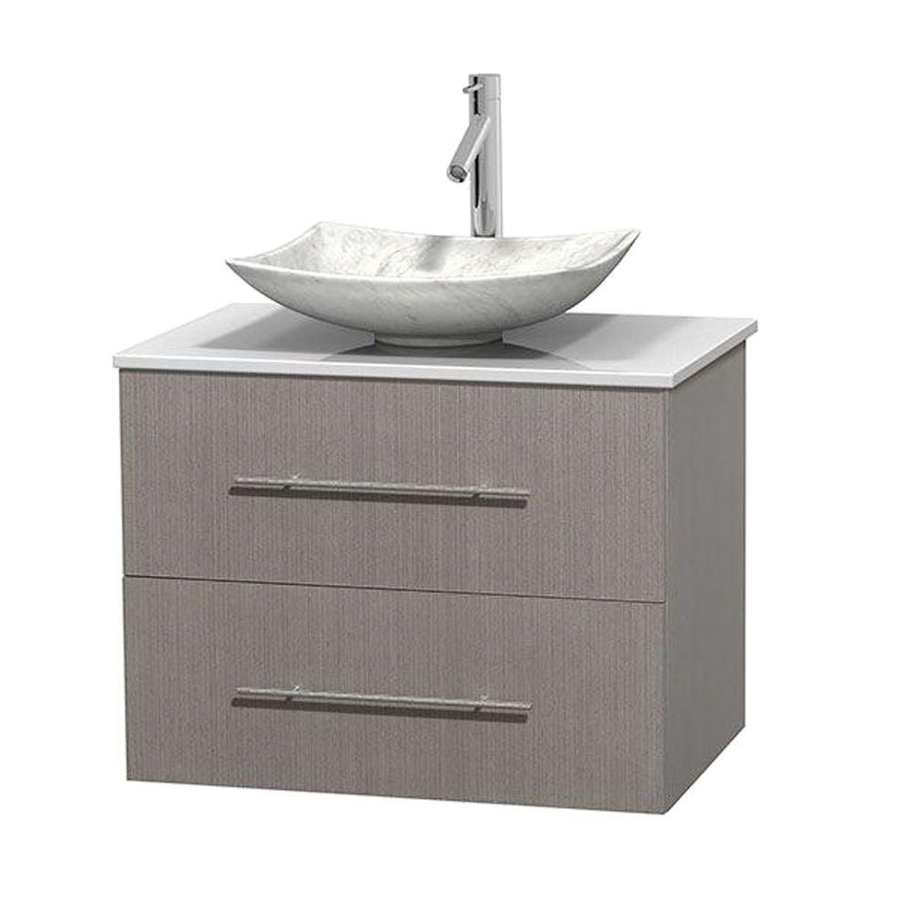 Centra 30-inch W Vanity in Grey Oak with Solid Top with White Basin