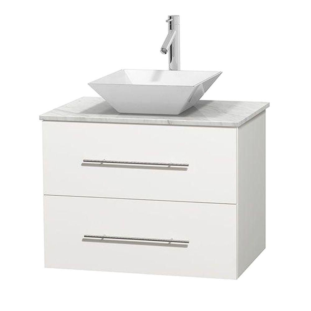 Wyndham Collection Centra 30-inch W 1-Drawer 1-Door Wall Mounted Vanity in White With Marble Top in White