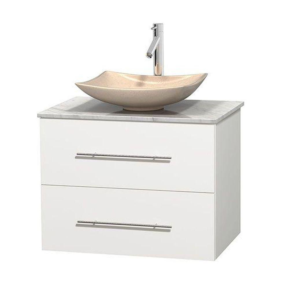 Centra 30-inch W Vanity in White with White Top with Ivory Basin