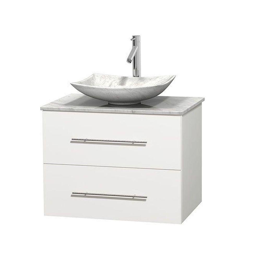 Meuble simple Centra 30 po. blanc, comptoir blanc Carrare, lavabo blanc Carrare, sans miroir