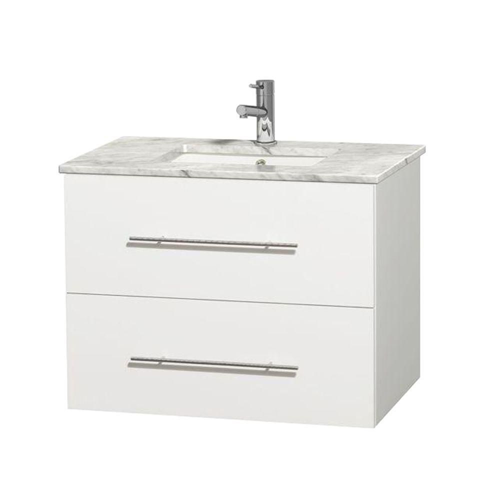 Centra 30-inch W Vanity in White with Top in Carrara White and Square Sink