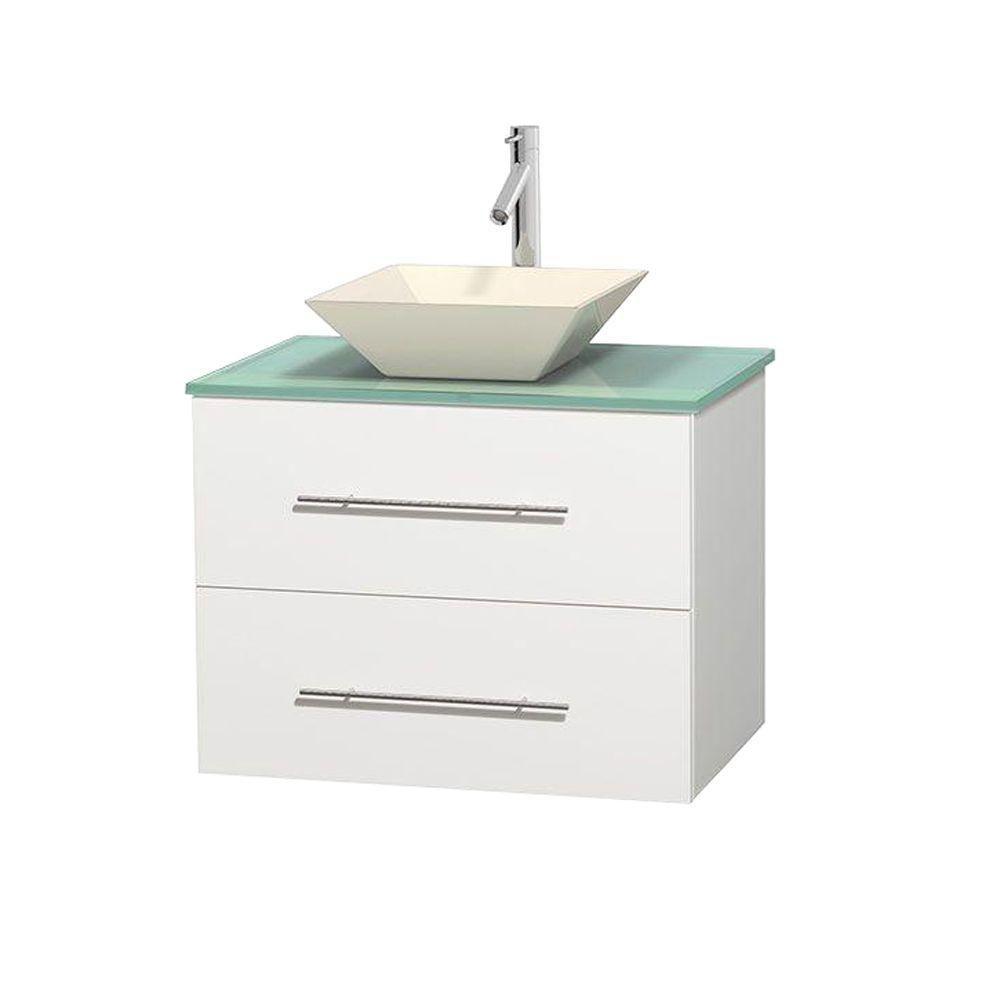 Meuble unique Centra 30 po. blanc, comptoir verre vert, lavabo porcelaine bone sans miroir