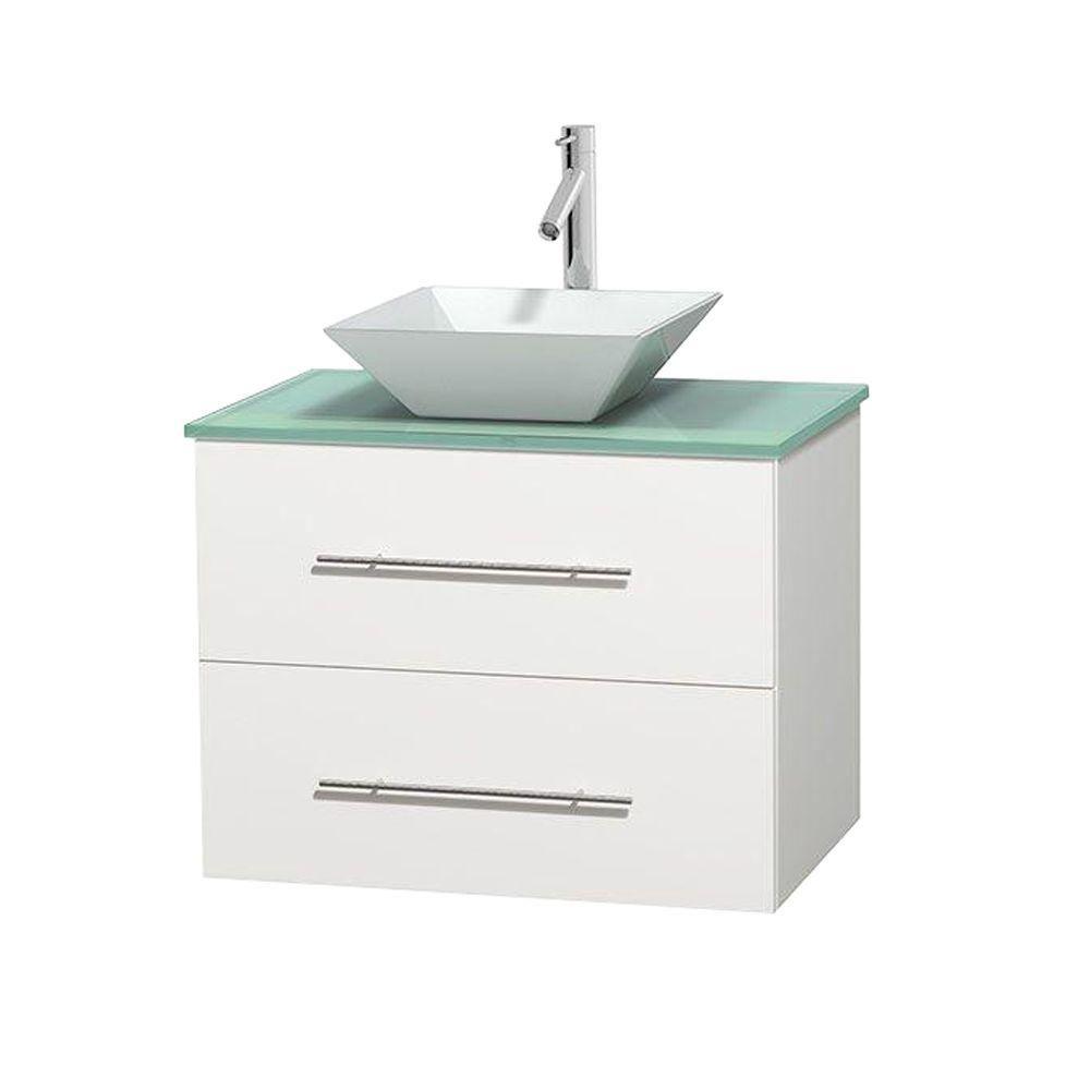 Meuble unique Centra 30 po. blanc, comptoir verre vert, lavabo porcelaine blanche sans miroir