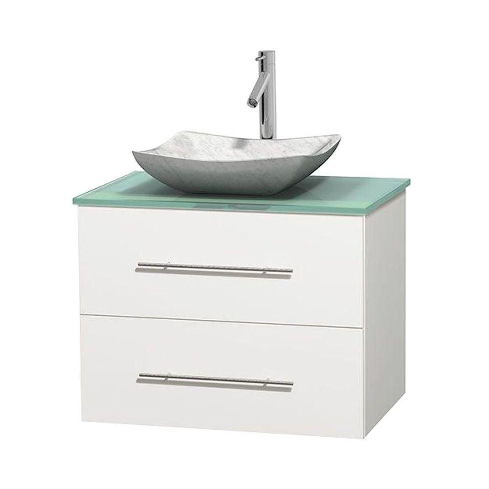 Centra 30-inch W Vanity in White with Glass Top with White Basin